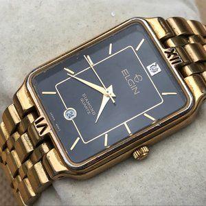 Elgin Diamond Quartz Watch Gold Tone Analog Wrist